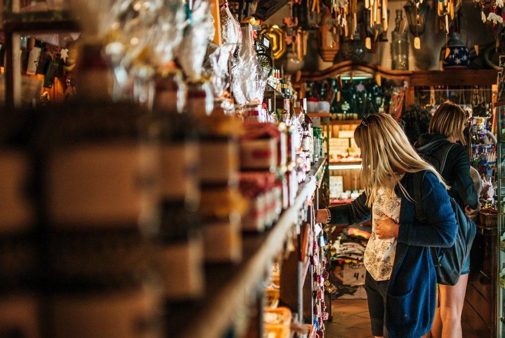girl, shop, souvenirs